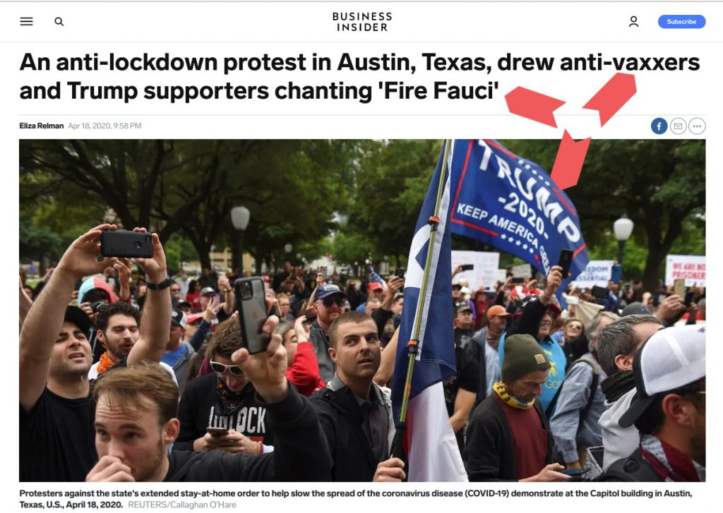 news media story showing anti-lockdown protesters supporting anti-vaxx and calling for Fauci to be fired while supporting President Trump.