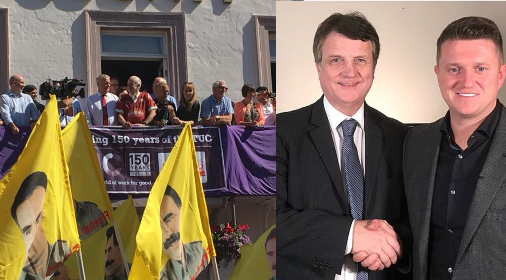 Side by side pictures of flags with images of Abdullah Ocalan at Durham Miners' Gala, and Tommy Robinson shaking hands with UKIP leader Gerard Batten.